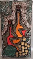 Abszolút Mid Century fat lava samottos kerámia fali kép fali dísz extrém ritka nagy méretű