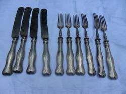 10 db ezüst nyelű villa és kés