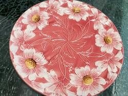 Fajansz mázas dísztál kínáló tál asztalközép virág mintás