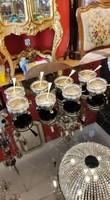 Ezüst sószóró fűszeres, bors szóró fűszertartó üveg betéttel.8 db+ 8db kanál. 8 db- os szett.
