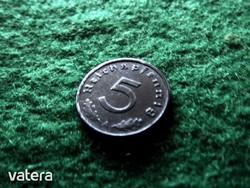 1944 A cink német 5 pfennig - náci Reichspfennig nagyon RITKA !!! (HU2-57)