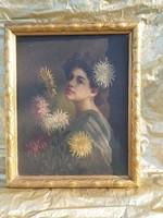 Hollós K. Szecesszió női portré. 1900-20