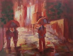 Antyipina Galina: Séta az eső alatt, olajfestmény, vászon, 58x75cm