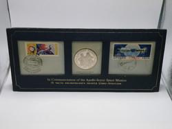 KK1217 1975 Apollo - Soyuz ezüst medál és bélyeg szett