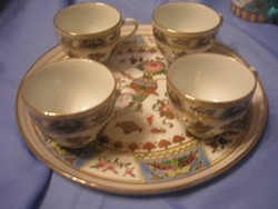 U2 Antik, luxus  Famille Róse teás, kávés szett gyűjtői ritkaság porc tálcájával