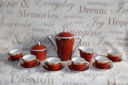 Hollóházi kávés készlet barna színben
