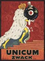 Unicum Zwack reklám plakát reprint nyomat Bíró Mihály király palást korona vintage szeszes ital üveg