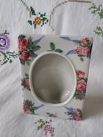 Rózsás porcelán képkeret/képtartó