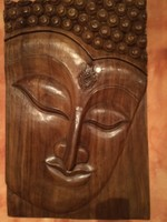 Buddha faragott fatábla, falikép