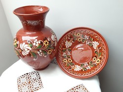 Hatalmas hódmezővásárhelyi váza és tál