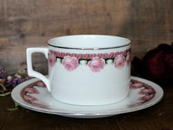 Zsolnay rózsás, porcelán teás szett