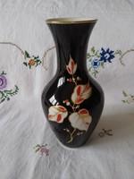 Régi fekete Unterweissbach kézzel festett porcelán váza