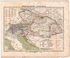 Osztrák monarchia térkép 1857, eredeti, Berghaus, német nyelvű, Európa, Ausztria, Magyarország