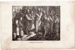 Árpád és követei, metszet 1860, eredeti, fametszet, történelem, Geiger - féle kép, honfoglalás