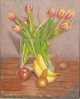 Antyipina Galina: Csendélet tulipánnal, olajfestmény, vászon, 50x40cm