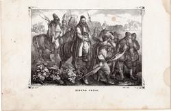 Giskra hadai, metszet 1860, eredeti, fametszet, történelem, Geiger - féle kép, 1452, 1462, Mátyás