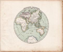 Keleti félteke térkép 1857, eredeti, Berghaus, német, világtérkép, Európa, Afrika, Ázsia, Ausztrália