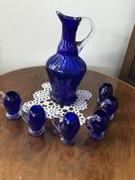 6 db Pálinkás pohár kancsoval kék