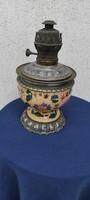 Antik majolika kerámia làmpa asztali, petróleum olaj lámpa Schütz,RDZ, Fischer Zsolnay.Ditmar fejrés