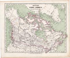 Brit Észak - Amerika térkép 1857, eredeti, Berghaus, német nyelvű, atlasz, Kanada, indián, Alaszka