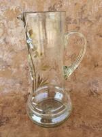 Gyönyörű szép antik szakított üveg kancsó madaras festéssel