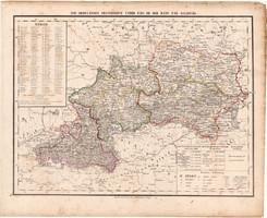 Ausztria térkép 1857, eredeti, Berghaus, német nyelvű, Európa, Salzburg, unter, ober Enns, királyság