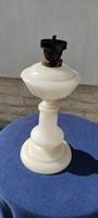 Antik Bíedermeier asztali üveg làmpa, Csiszolt hàntolt üveg ! Kalcedón,Opàl üt gyüjtemény darab.