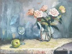 Antyipina Galina: Rózsák vázában, olajfestmény, vászon, 30x40cm