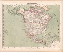 Észak - Amerika térkép 1857, eredeti, Berghaus, német nyelvű, atlasz, Egyesült Államok, brit, közép