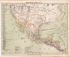 Közép - Amerika térkép 1857, eredeti, Berghaus, német nyelvű, atlasz, Mexikó, Honduras, Texas