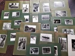 54 db. jó hangulatú fotó európai utazásokról, nyaralásokról az 50-es évek elejéről kartonra ragasztv