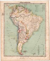 Dél - Amerika térkép 1857, eredeti, Berghaus, német nyelvű, atlasz, Patagónia, Brazília, Peru, Chile