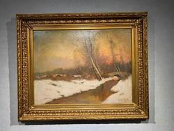 K.Spányi Béla (1852-1914) Alkonyati folyópart c. téli tájképe eladó