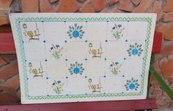 Mezőberényi lemez  sparhelthez falvédő nosztalgia rokkás pávás  Falusi dekoráció