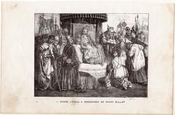 II. Endre átadja a rendeknek az arany bullát, metszet 1860, eredeti, fametszet, történelem, 1222