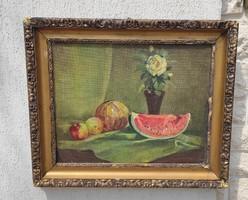 Asztali Csendélet, Dinnye,viràgokfestmény,,olj-farost