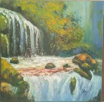 Antyipina Galina: Vízesés, olajfestmény, vászon, 40x40cm