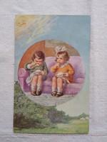 Antik grafikus gyerekmotívumos képeslap/üdvözlőlap gyerekek evés közben, nap