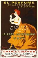 Vintage parfüm illatszer reklám hirdetés plakát reprint nyomat Cappiello elegáns spanyol nő rózsa
