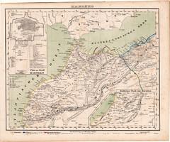 Marokkó térkép 1857, eredeti, Berghaus, német nyelvű, atlasz, Afrika, észak, Tanger, Ceuta, Orán