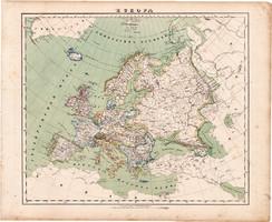 Európa térkép 1857, eredeti, Berghaus, német nyelvű, Magyarország, monarchia, politikai, államok
