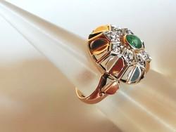 Régi arany gyűrű (brill és smaragd)