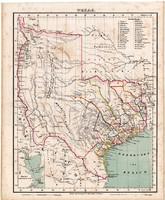 Texas térkép 1857, eredeti, Berghaus, német nyelvű, atlasz, észak, Amerika, indián, Egyesült Államok