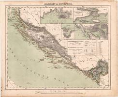 Dalmácia és Montenegró térkép 1857, eredeti, Berghaus, német nyelvű, Adria, tenger, Balkán