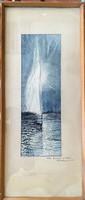 """""""Retro Balaton"""" 72x30 cm-es modern festmény 1974-ből, lakberendezőknek."""