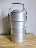 Retro,vintage 4 részes sosem használt alumínium ételhordó