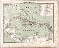 Nyugat - indiai szigetek térkép 1857, eredeti, Berghaus, német nyelvű, atlasz, közép, Amerika, óceán