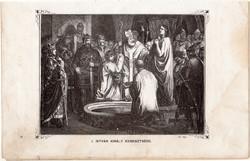 I. István király keresztelése, metszet 1860, eredeti, fametszet, történelem, szent, Geiger-féle kép