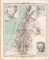 Palesztina térkép 1857, eredeti, Berghaus, német nyelvű, atlasz, Ázsia, Szentföld, Jeruzsálem