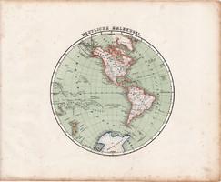 Nyugati félteke térkép 1857, eredeti, Berghaus, német, Amerika, Csendes - óceán, világtérkép